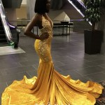 Yellow Velvet Mermaid African American Prom Dress Promfy