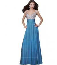 Long Blue Prom Dresses 2015 With Silver Tops