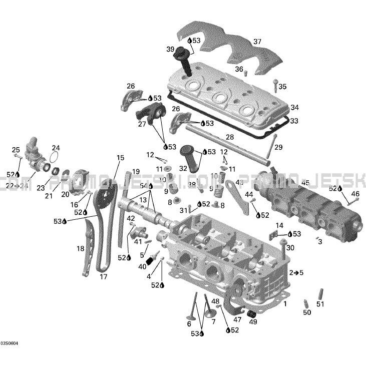 01- Cylinder Head pour JetSki Seadoo GTX 4-TEC, WAKE, 2006