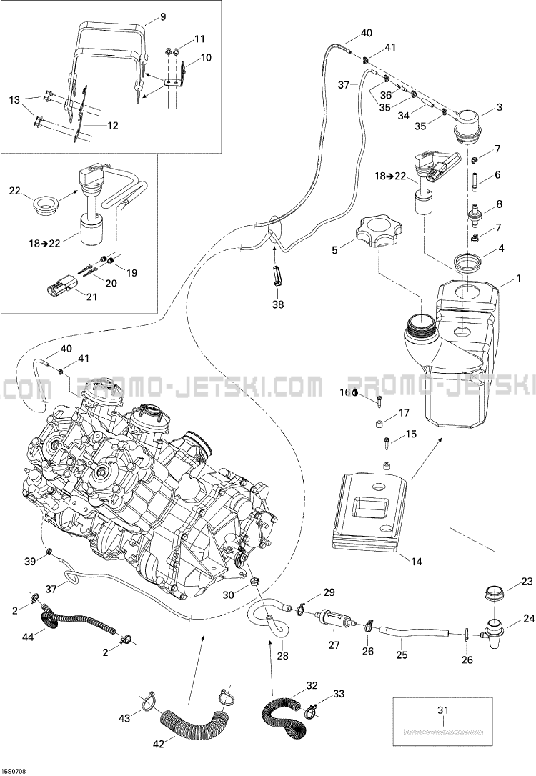 02- Oil Injection System pour JetSki Seadoo 3D 947 DI