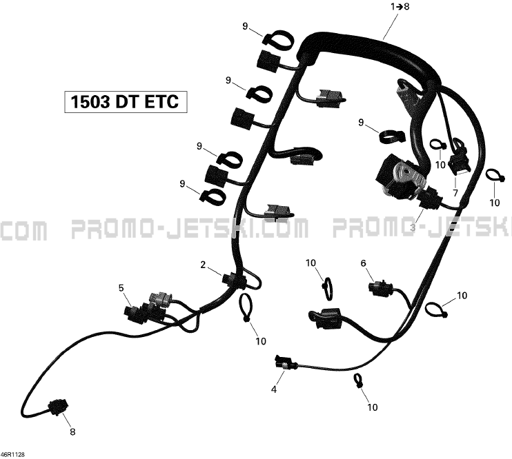 10- Engine Harness for Seadoo GTI SE 130, 2011 2011