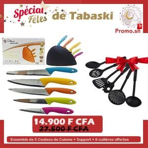 Ensemble de 5 Couteau de Cuisine + Support + 6 cuillères offertes
