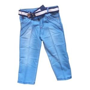 Jean bleu délavé avec ceinture pour garçon