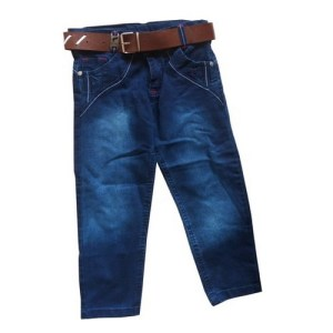 Jean bleu foncé avec ceinture marron pour garçon