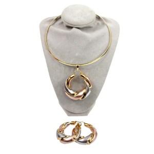Parures plaqué or S29 collier, bracelet, boucles oreilles, bague