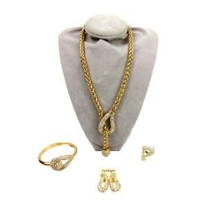 Parures plaqué or S30 collier, bracelet, boucles oreilles, bague
