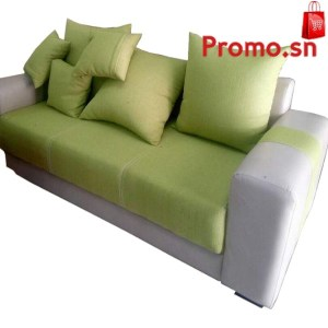 Salon 7 places en tissu vert gris bras carré
