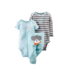 Ensemble 3 pièces pour bébé 100 % coton 2 Barboteuses, pantalon unisexe