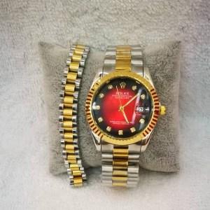 Montre Femme modèle Rolex fond rouge