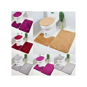 Ensemble de 3 tapis salle de bain Toilette Lavabo Baignoire