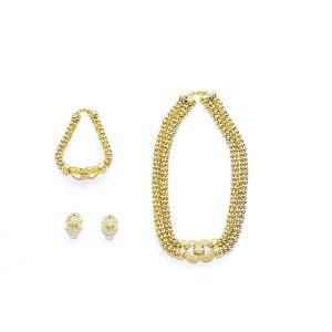 Parure de Bijoux - Plaqué Or - Collier, Boucles d'Oreilles, Bracelet