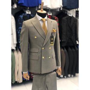 Ensemble costume croisé homme 6 boutons gris foncé