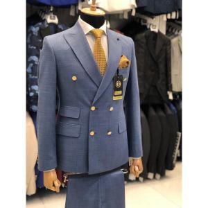 Ensemble costume croisé homme 6 boutons bleu