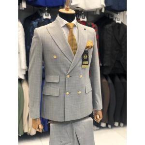 Ensemble costume croisé homme 6 boutons gris clair