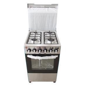 Cuisinière 4 feux Elbee dimension 60x60 inox allumage automatique rôtissoire