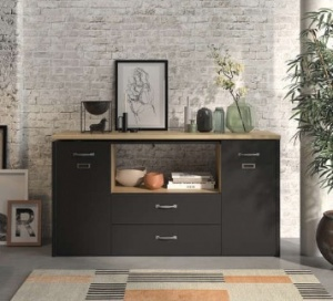 bureau d angle 140 cm manchester coloris chene hevezia noir promo conforama