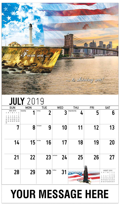 monthly calendar july 2019