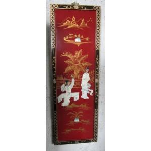 Tableau Chinois Laque Rouge Et Nacre