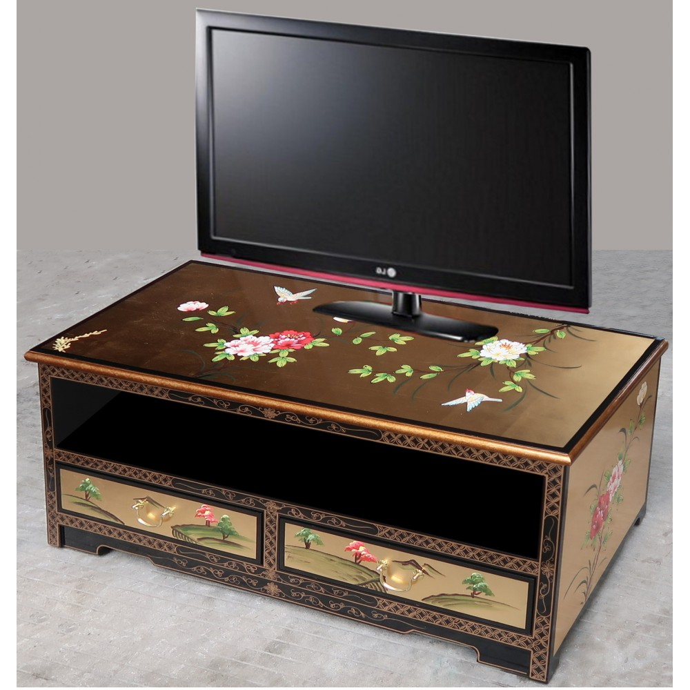 meuble tv chinois laque doree meubles chinois laques
