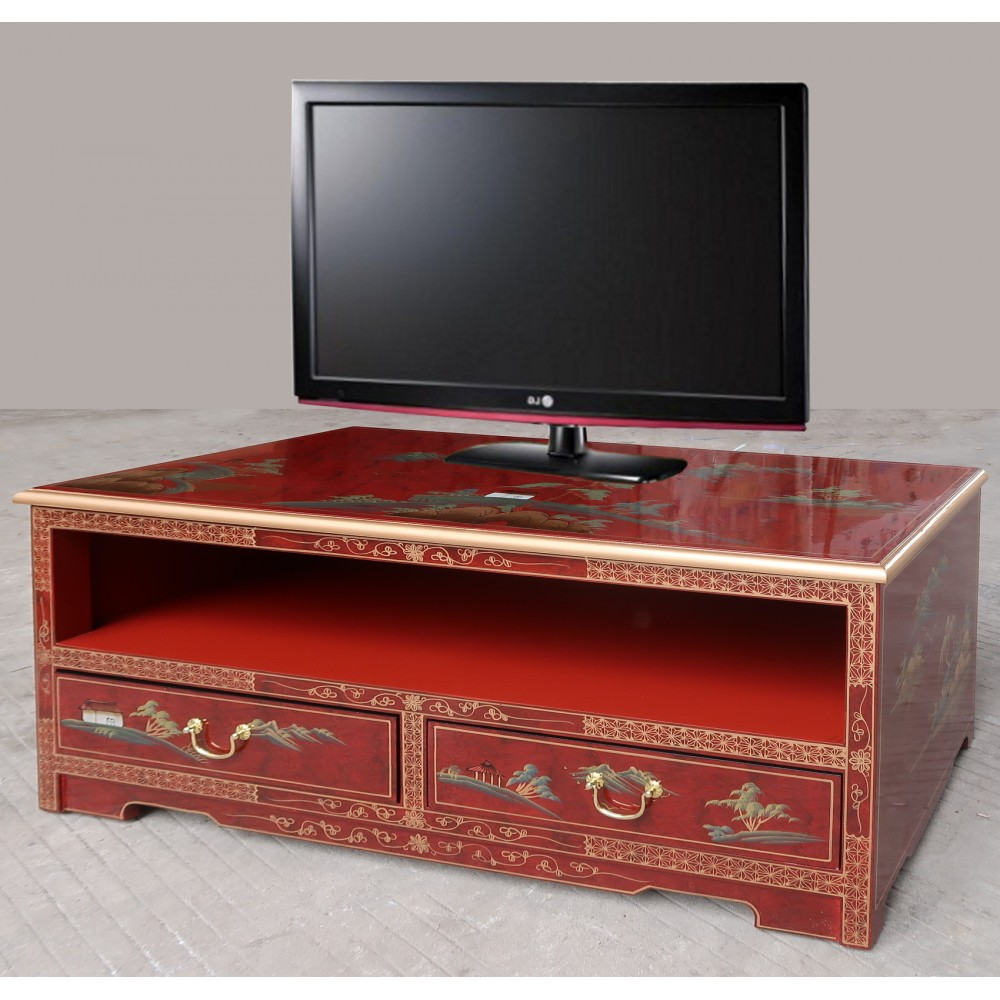 meuble tv chinois laque rouge meubles chinois laques