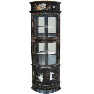 vitrine d angle chinoise ancienne laque noire et nacre meubles chinois laques