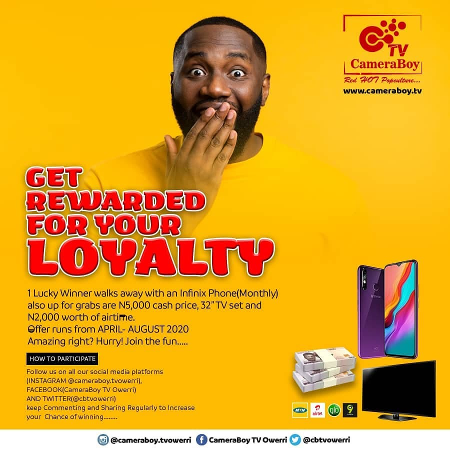 Get Rewarded for your Loyalty in CameraBoy TV Giveaway.