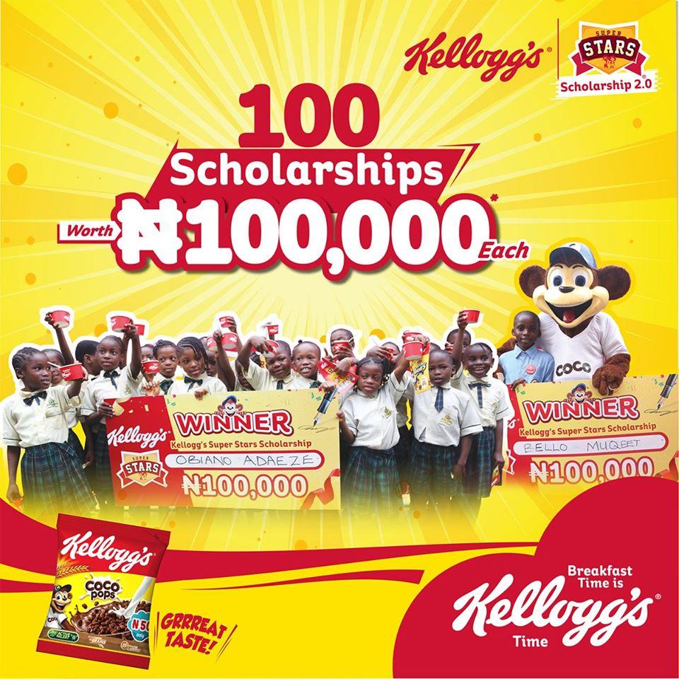 "100 Scholarships Worth N100,000 to be awarded in Kellogg's Nigeria ""Super Star Season""."