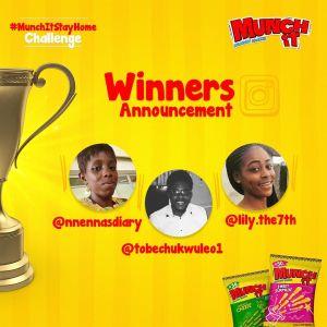 3 Winners of #MunchITStayHomeChallenge.