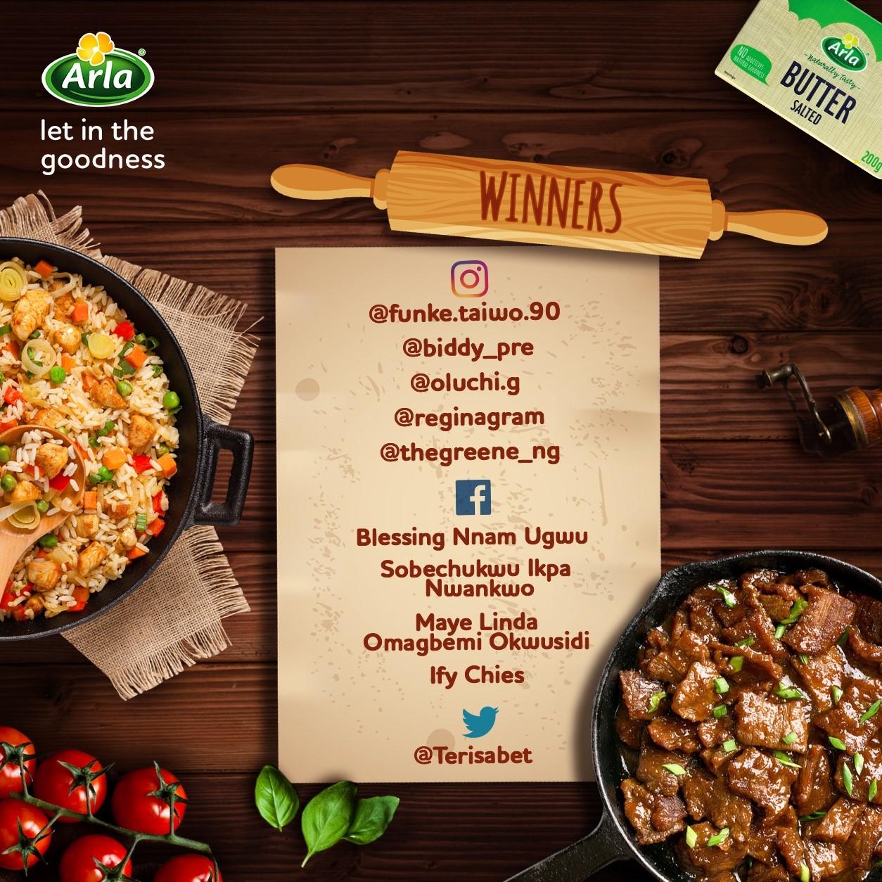 Winners of Arla Nigeria N5,000 Giveaway.