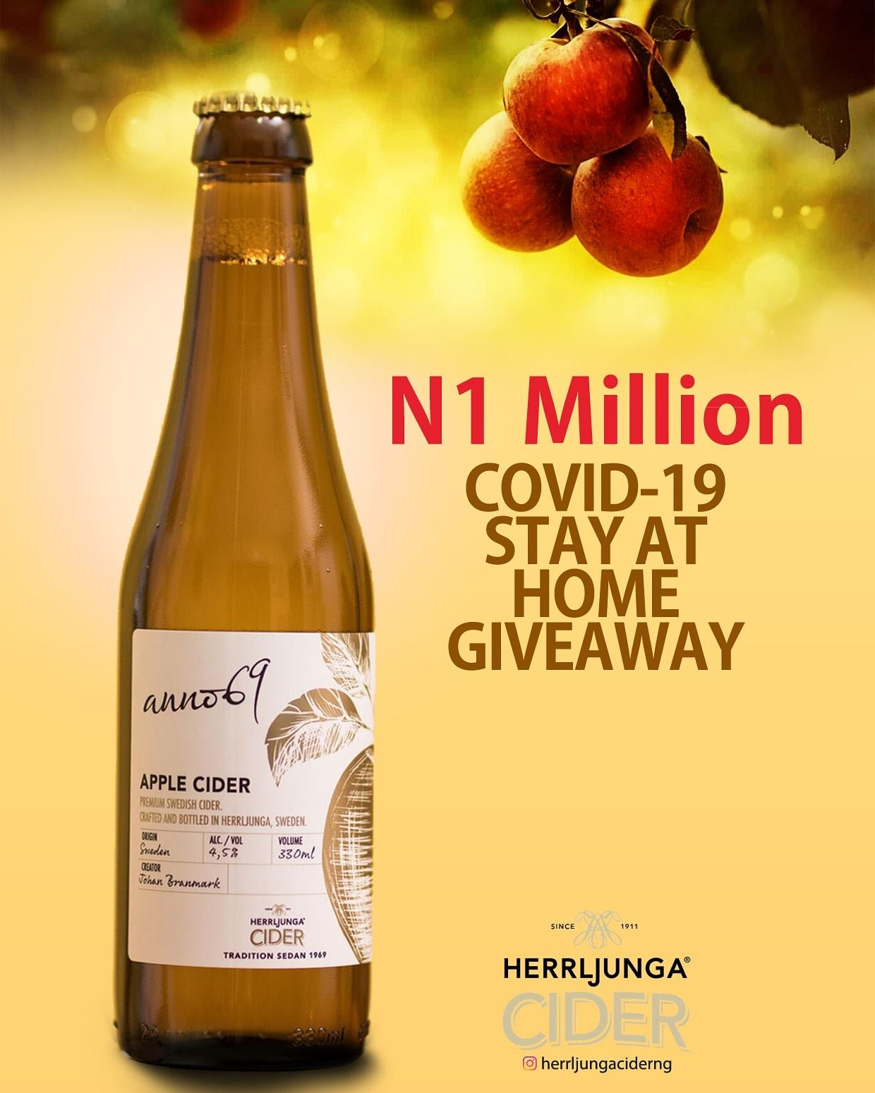 Herrljungaciderng N1Million Covid-19 Stay at Home Giveaway.