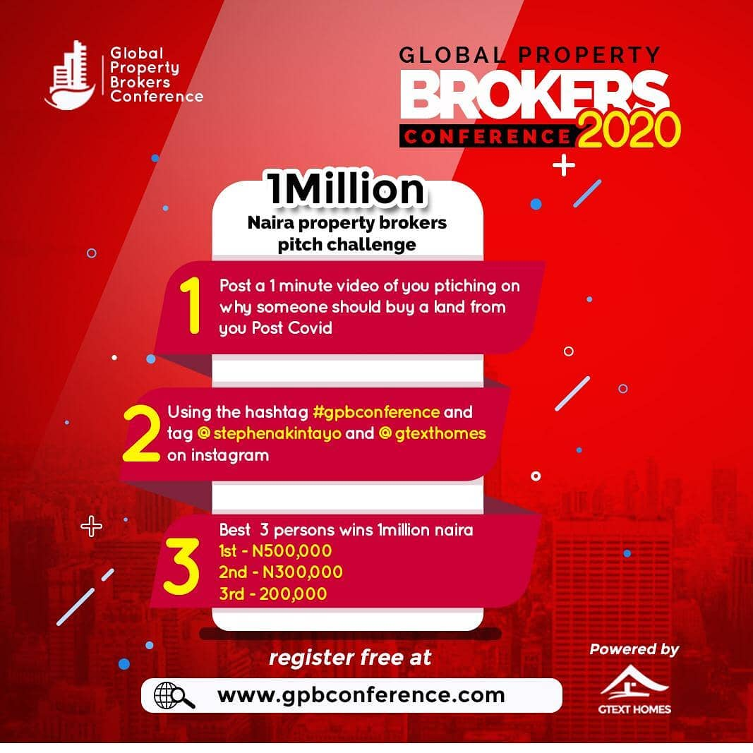 "N1Million For Grabs in the Global Property Brokers ""Pitch Brokers Competition"" 2020."