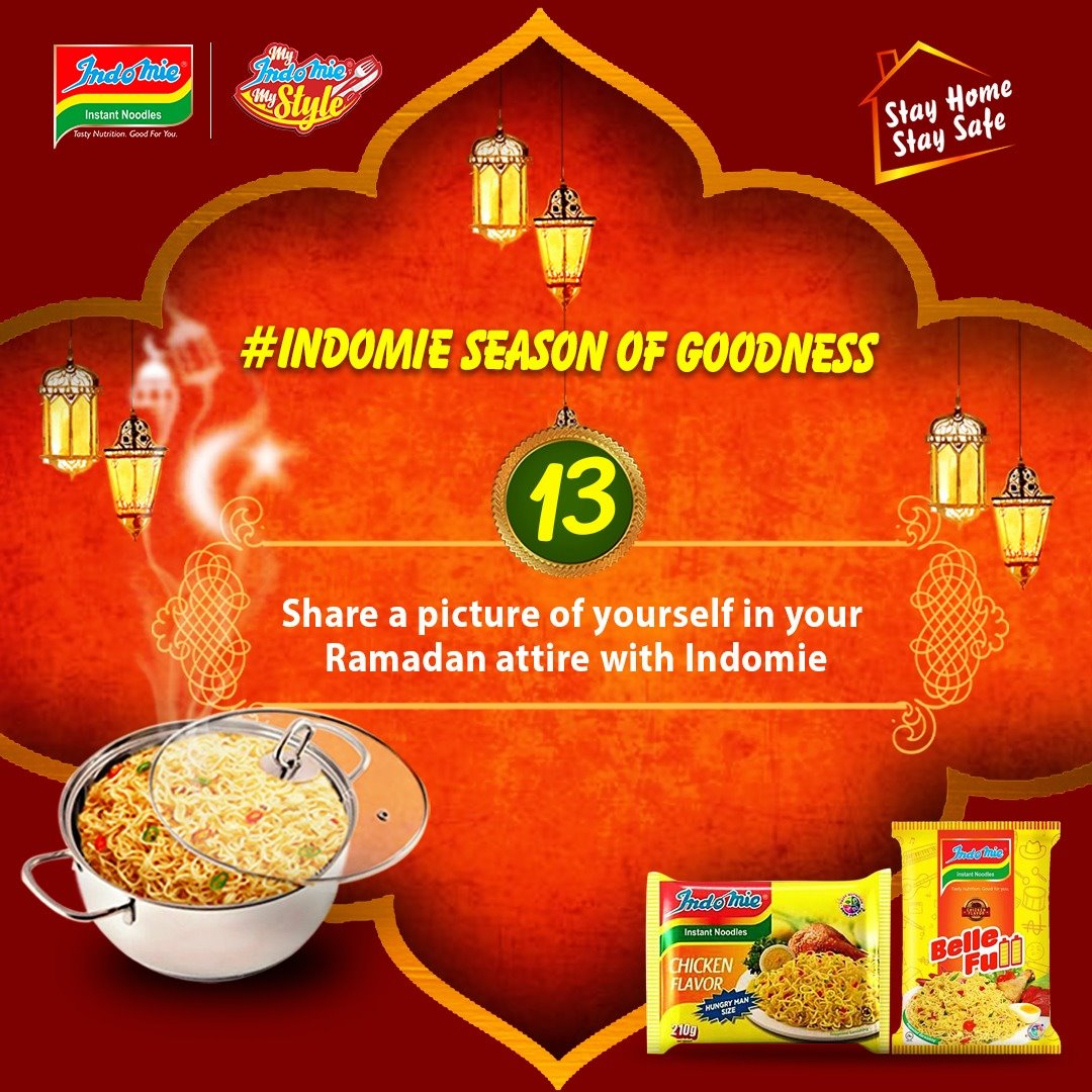 Indomie Season of Goodness Challenge 13, Share a Picture of Yourself in your Ramadan Attire with Indomie.