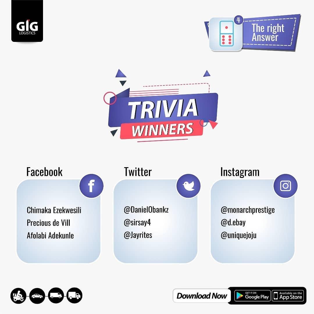 Winners of GIG Logistics Trivia.