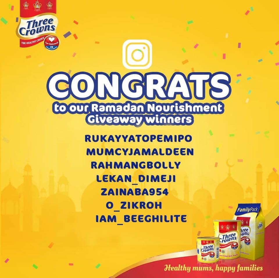 Winners of Three Crowns Milk Ramadan Giveaway.