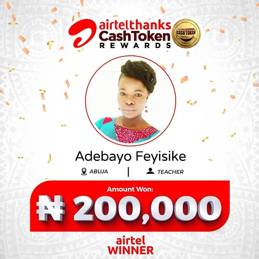 Winners of AirtelThanks Cash Token Rewards.