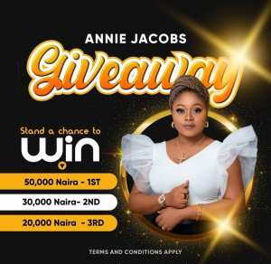 Grab Your Share of Annie Jacobs N100k Giveaway on Instagram.