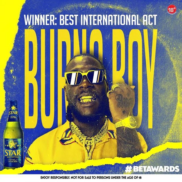Burna Boy Wins: The Best International Act Again in BET Awards.
