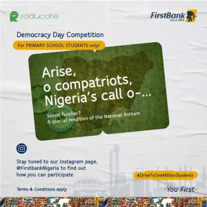 COMING UP: First Bank Democracy Day Competition For Primary School Students.
