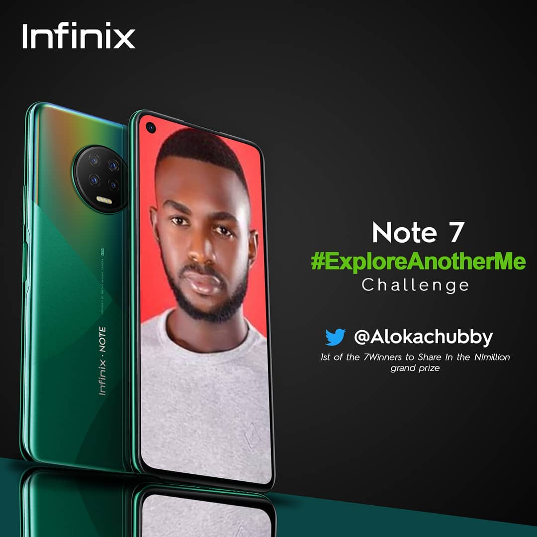 @Alokachubby is the 1st of the 7 Winners to share  N1Million in the Infinix #ExploreAnotherMe Challenge.