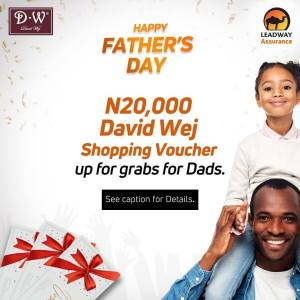 N20,000 Shopping Voucher For Grabs in Leadway Assurance Fathers Day Giveaway.