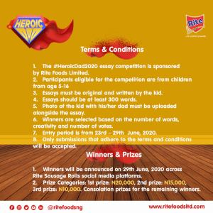 N20K, N15K And N10K Up For Grabs in Rite Foods Heroic Dad Essay Competition.