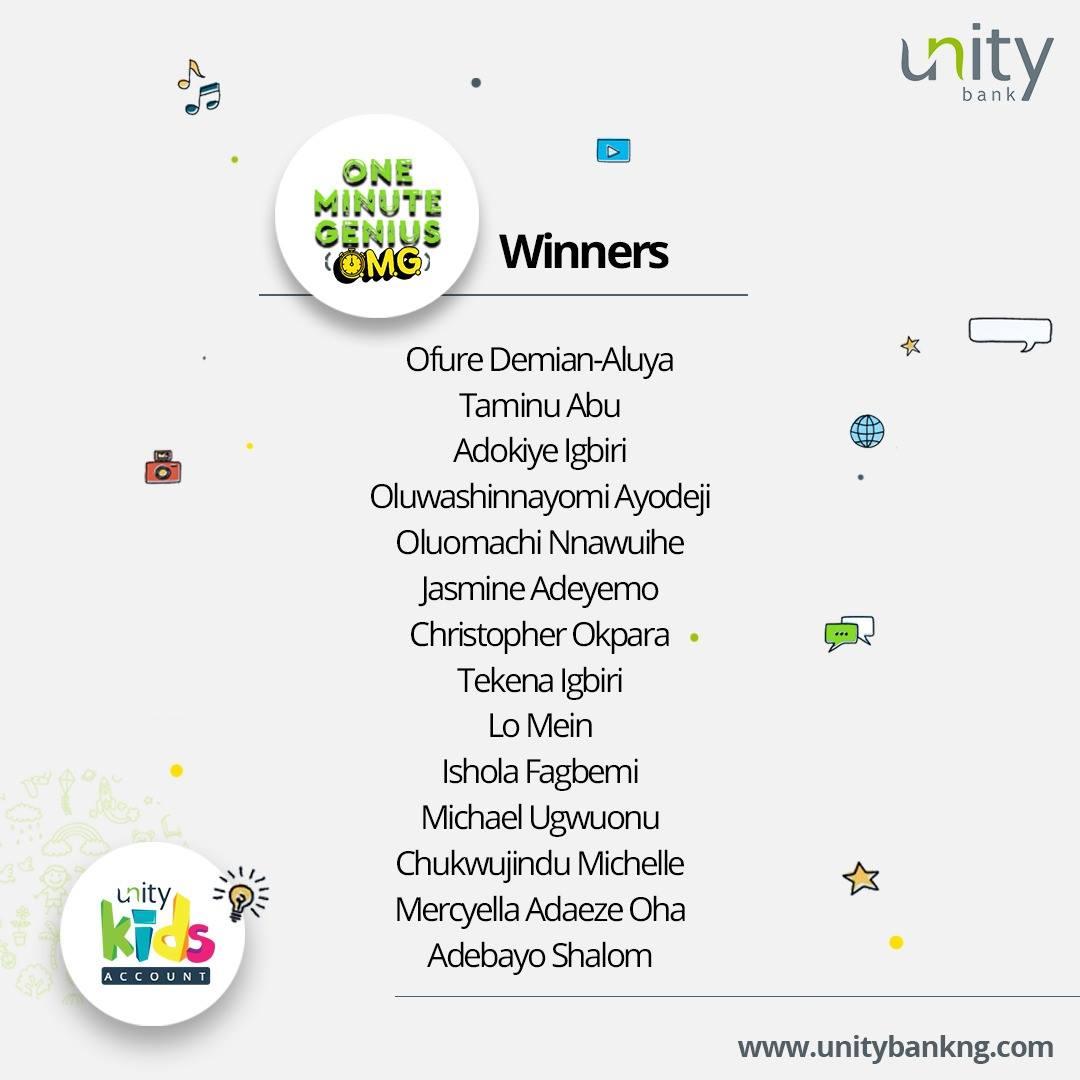 Some Winners of Unity Bank #OneMinuteGenius.