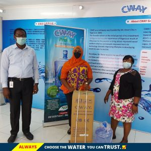 Winner of Cway Water Dispenser Collecting The Prize.