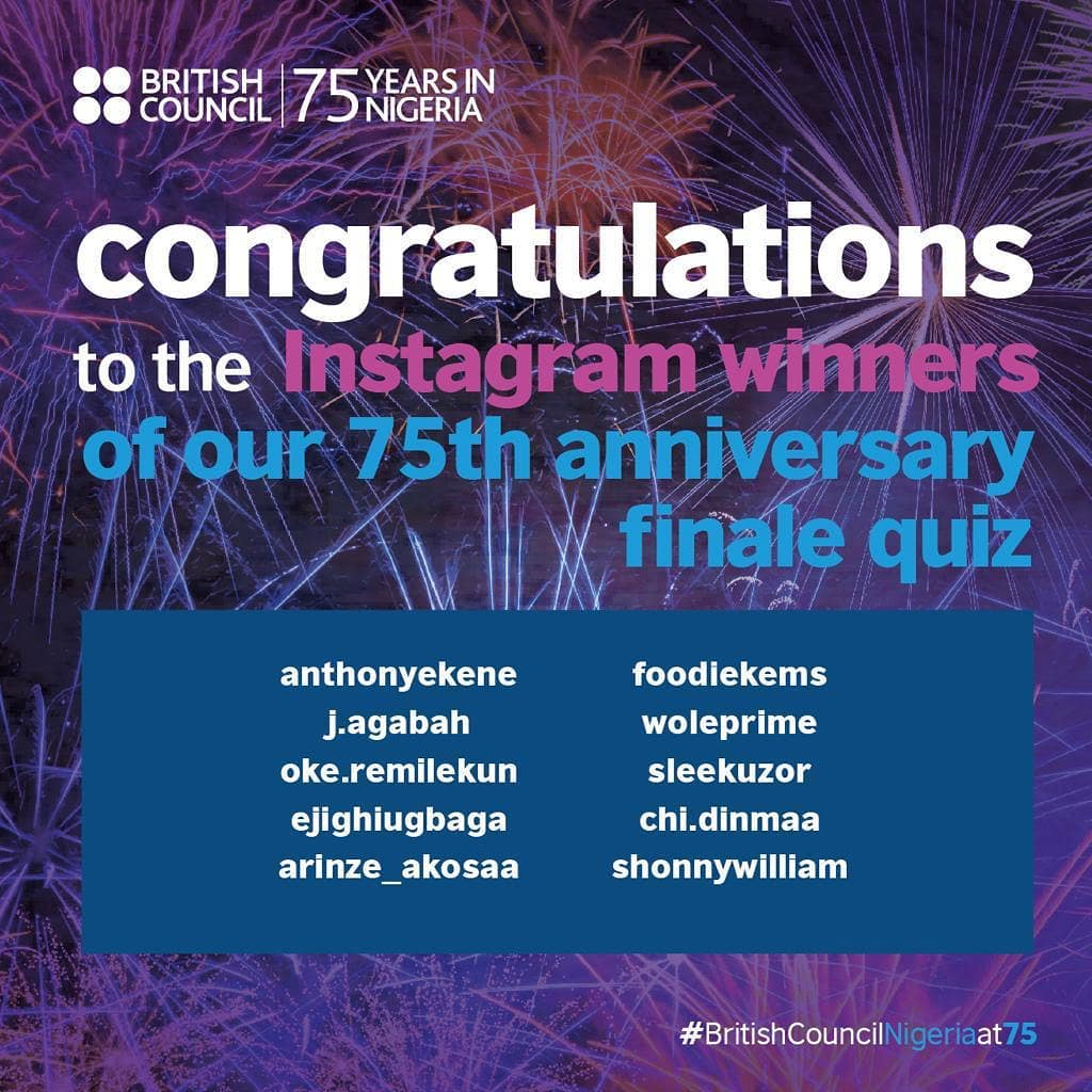 Winners of British Council Quiz Giveaways to mark their 75th Anniversary in Nigeria