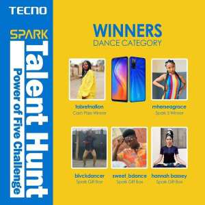 Winners of Tecno Spark #PowerOfFiveChallenge.