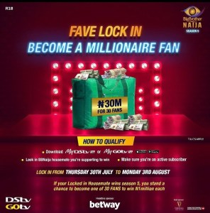 30 Lucky Customers of GOtv to Win N1million Each As you Predict the Winner of Big Brother Naija.