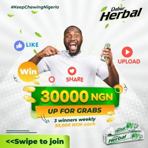 N30,000 For Grabs Weekly in Dabur Herbal Giveaway.