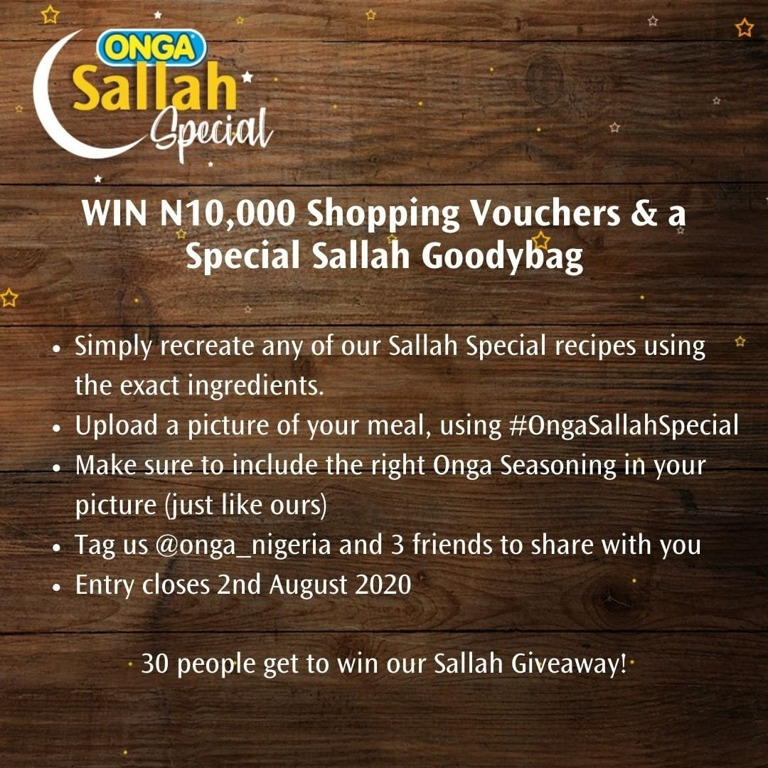 Join The Onga Nigeria Sallah Giveaway on Instagram and Win Prizes.