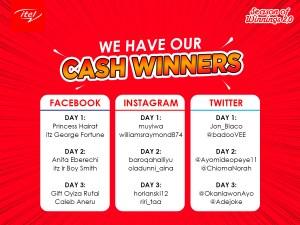 Here are Some Cash Winners of itel Season of Winnings.