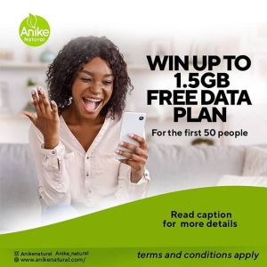 Win up to 1.5GB Data Plan in Anike Naturals Giveaway.